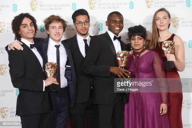 Khaled Gad Anushka Kishani Naanayakkara Elena RuscombeKing and guests pose with their awards for British Short Animation Award in the winners room at...