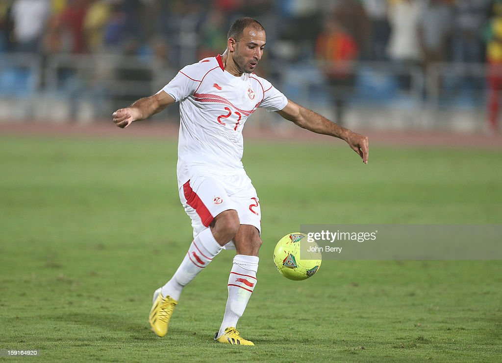 Khaled Mouelhi of Tunisia in action during the international friendly game between Tunisia and Ethiopia at the Al Wakrah Stadium on January 7, 2013 in Doha, Qatar.