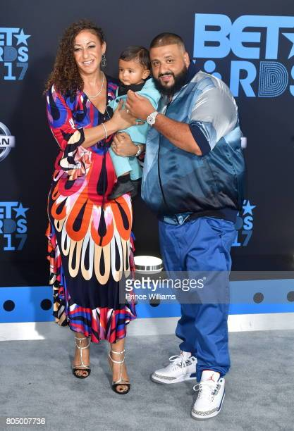 Khaled Nicole Tuck and son Asahd Tuck Khaled attend the 2017 BET Awards at Microsoft Theater on June 25 2017 in Los Angeles California