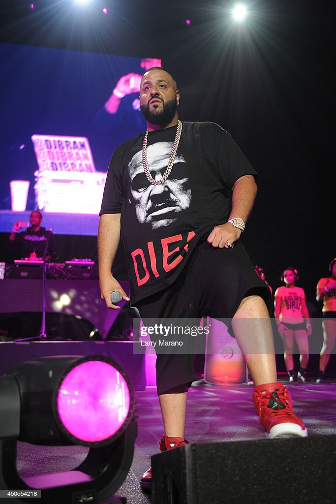 DJ Khaled performs during the 103.5 The Beat Down concert at BB&T Center on June 12, 2014 in Sunrise, Florida.