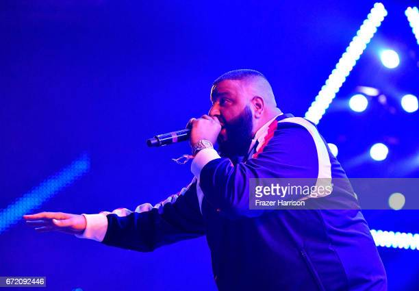 Khaled performs in the Sahara Tent during day 3 of the 2017 Coachella Valley Music Arts Festival at the Empire Polo Club on April 23 2017 in Indio...