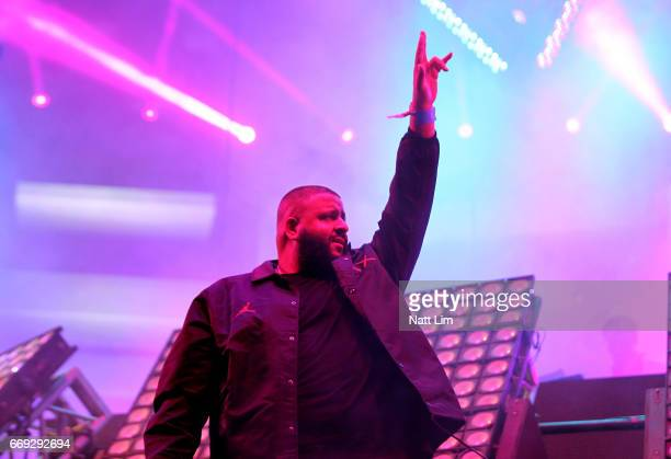 Khaled performs in the Sahara Tent during day 3 of the Coachella Valley Music And Arts Festival at the Empire Polo Club on April 16 2017 in Indio...