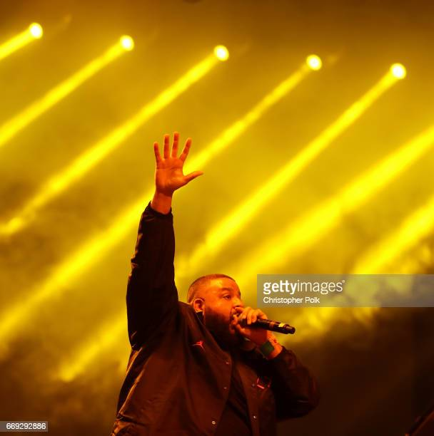 Khaled performs on the Sahara stage during day 3 of the Coachella Valley Music And Arts Festival at the Empire Polo Club on April 16 2017 in Indio...