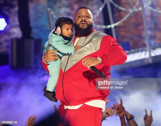 Khaled performs onstage with his son Asahd Tuck Khaled at 2017 BET Awards at Microsoft Theater on June 25 2017 in Los Angeles California