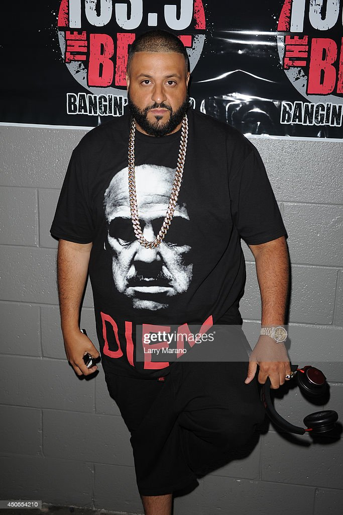DJ Khaled poses backstage during the 103.5 The Beat Down concert at BB&T Center on June 12, 2014 in Sunrise, Florida.