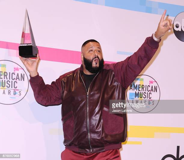 Khaled poses in the press room at the 2017 American Music Awards at Microsoft Theater on November 19 2017 in Los Angeles California