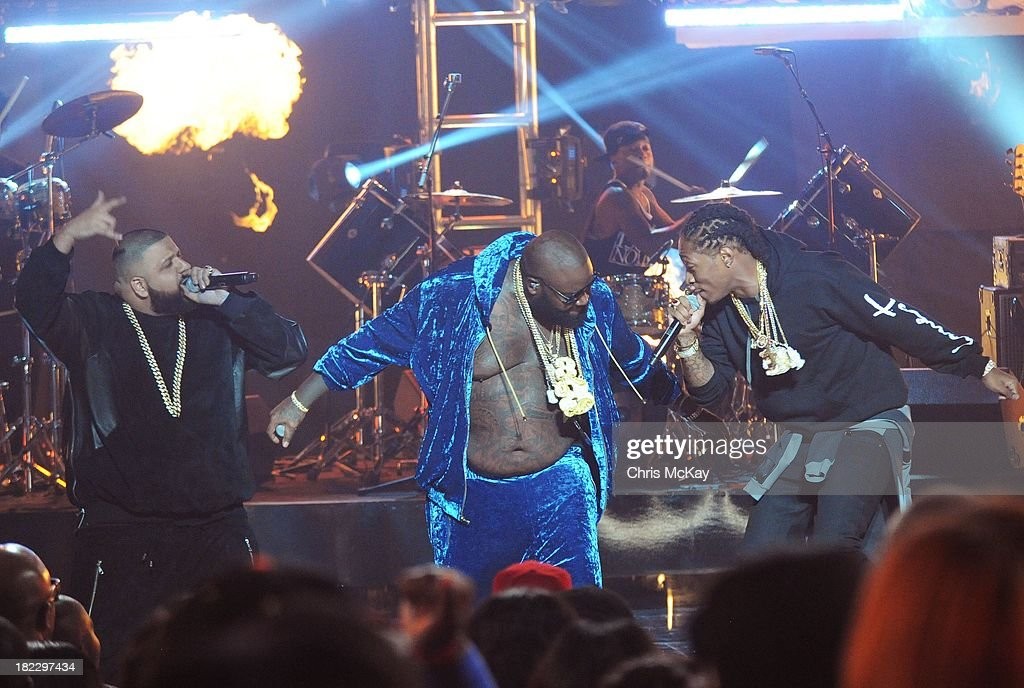 DJ Khaled, Rick Ross, and Future perform during the BET Hip Hop Awards 2013 at the Boisfeuillet Jones Atlanta Civic Center on September 28, 2013 in Atlanta, Georgia.