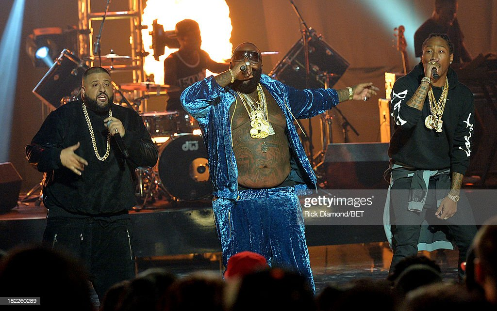 DJ Khaled, Rick Ross and Future perform onstage at the BET Hip Hop Awards 2013 at Boisfeuillet Jones Atlanta Civic Center on September 28, 2013 in Atlanta, Georgia.