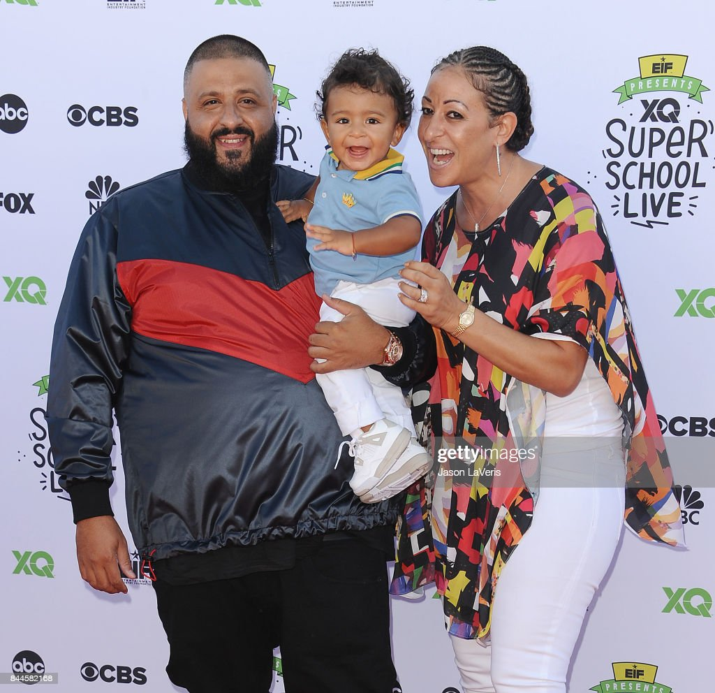 DJ Khaled, son Asahd Tuck Khaled and Nicole Tuck attend XQ Super School Live at The Barker Hanger on September 8, 2017 in Santa Monica, California.