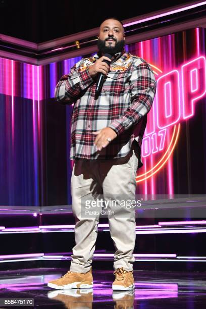 Khaled speaks onstage during the BET Hip Hop Awards 2017 at The Fillmore Miami Beach at the Jackie Gleason Theater on October 6 2017 in Miami Beach...