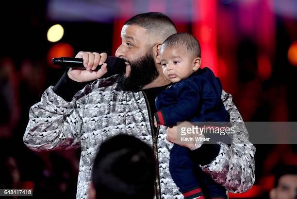 Khaled speaks onstage with Asahd Tuck Khaled at the 2017 iHeartRadio Music Awards which broadcast live on Turner's TBS TNT and truTV at The Forum on...