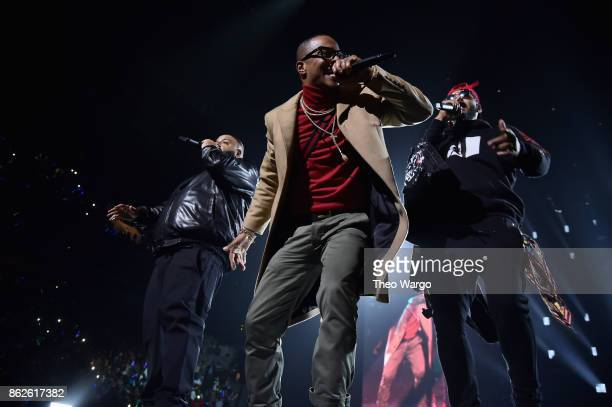 DJ Khaled TI and Swizz Beatz perform onstage during TIDAL X Brooklyn at Barclays Center of Brooklyn on October 17 2017 in New York City