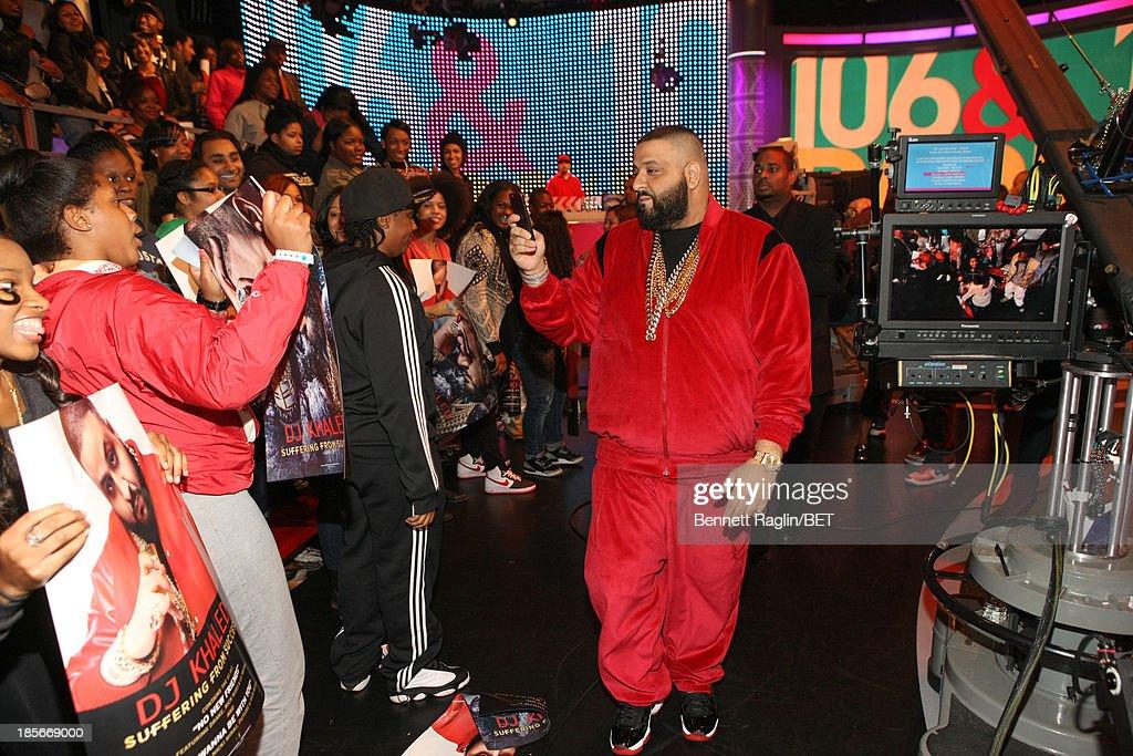 DJ Khaled visits 106 & Park at 106 & Park studio on October 22, 2013 in New York City.