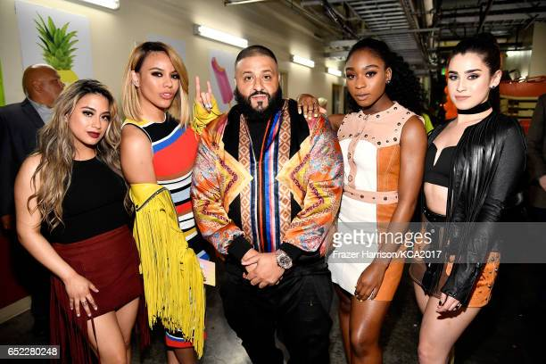 Khaled with singers Ally Brooke Dinah Jane Normani Kordei and Lauren Jauregui of Fifth Harmony at Nickelodeon's 2017 Kids' Choice Awards at USC Galen...