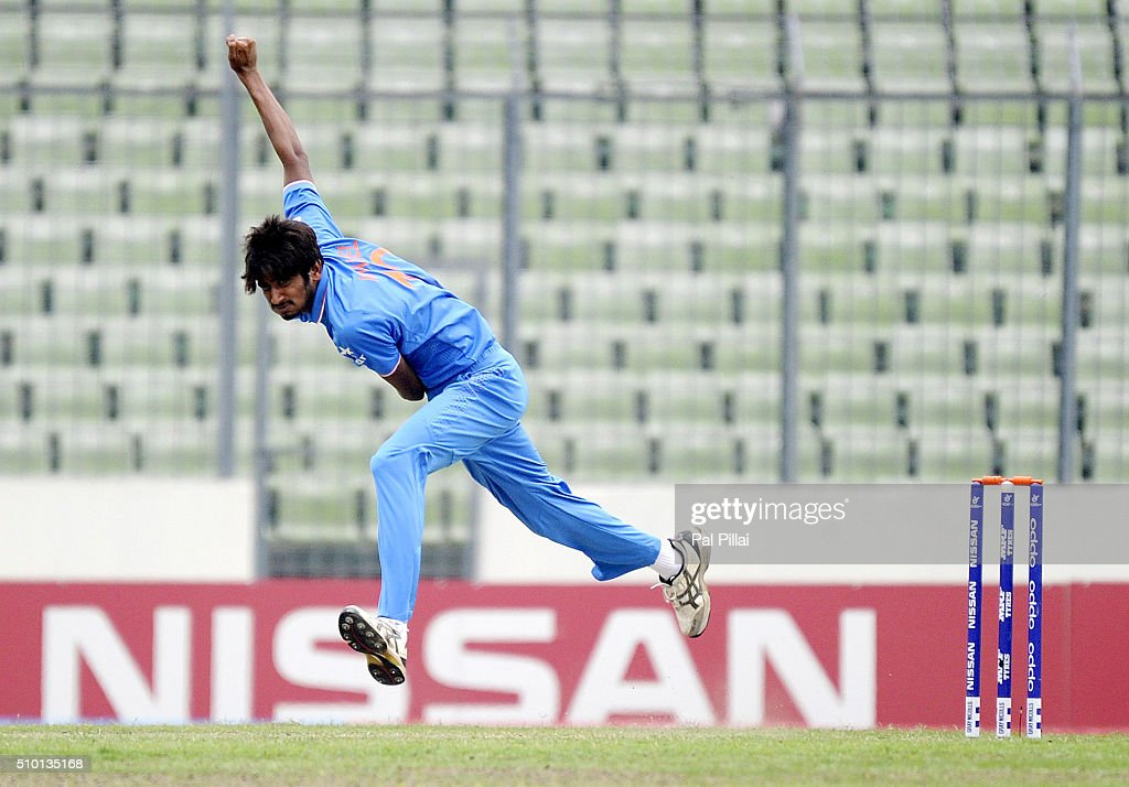 Khaleel Ahmed of India bowls during the ICC U19 World Cup Final Match between India and West Indies on February 14, 2016 in Dhaka, Bangladesh.
