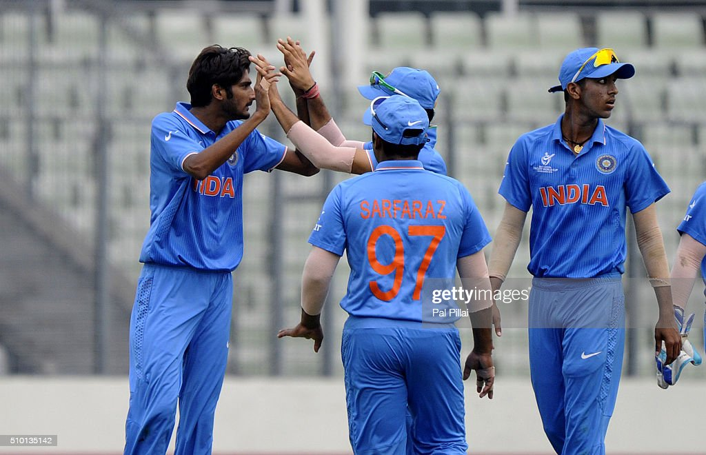 Khaleel Ahmed of India celebrates the wicket of Tevin Imlach of West Indies U19 during the ICC U19 World Cup Final Match between India and West Indies on February 14, 2016 in Dhaka, Bangladesh.