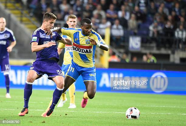 Khaleem Hyland midfielder of KVC Westerlo and Leander Dendoncker midfielder of RSC Anderlecht pictured during Jupiler Pro League match between RSC...