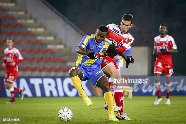 Khaleem Hyland midfielder of KVC Westerlo and Luka Stojanovic midfielder of Royal Excel Mouscron during the Jupiler Pro League match between Royal...