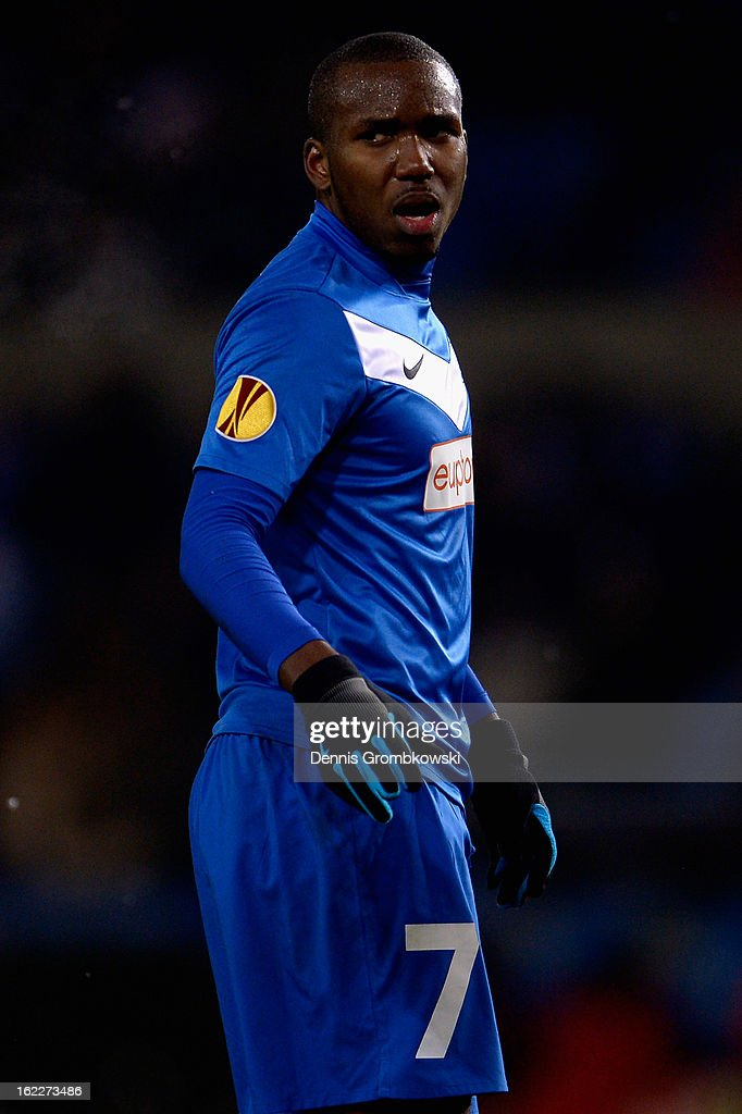 Khaleem Hyland of Genk reacts during the UEFA Europa League Round of 32 second leg match between KRC Genk and VfB Suttgart at Cristal Arena on February 21, 2013 in Genk, Belgium.