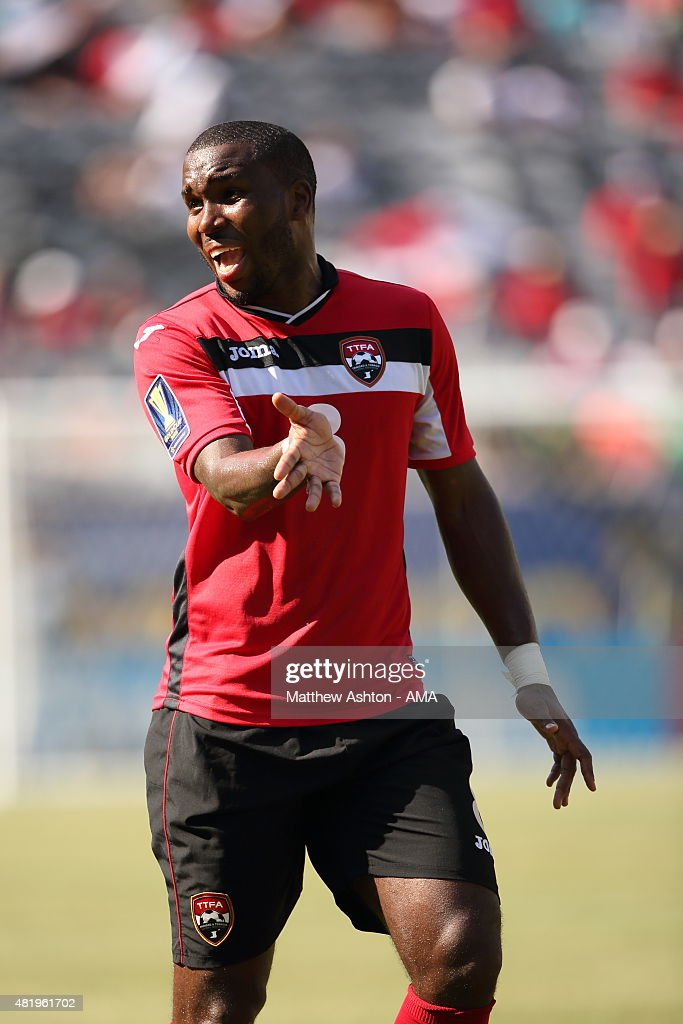 <a gi-track='captionPersonalityLinkClicked' href=/galleries/search?phrase=Khaleem+Hyland&family=editorial&specificpeople=5366394 ng-click='$event.stopPropagation()'>Khaleem Hyland</a> of Trinidad and Tobago during the Gold Cup Quarter Final between Trinidad & Tobago and Panama at MetLife Stadium on July 19, 2015 in East Rutherford, New Jersey.
