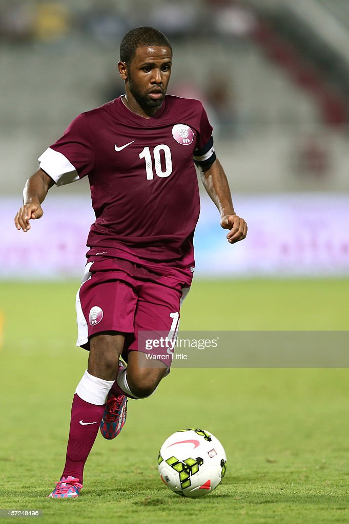 Khalfan Ibrahim of Qatar in action during an international friendly match between Qatar and Australia at the Abdullah Bin Khalifa Stadium on October 14, 2014 in Doha, Qatar.