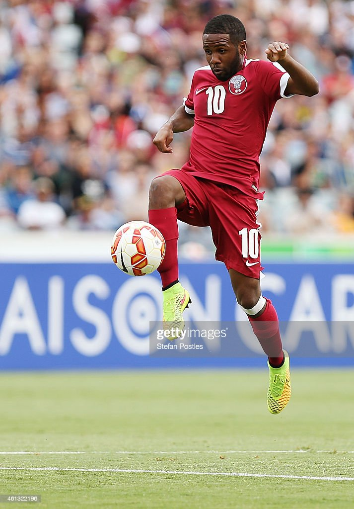 Khalfan Ibrahim of Qatar in action during the 2015 Asian Cup match between the United Arab Emirates and Qatar at Canberra Stadium on January 11, 2015 in Canberra, Australia.