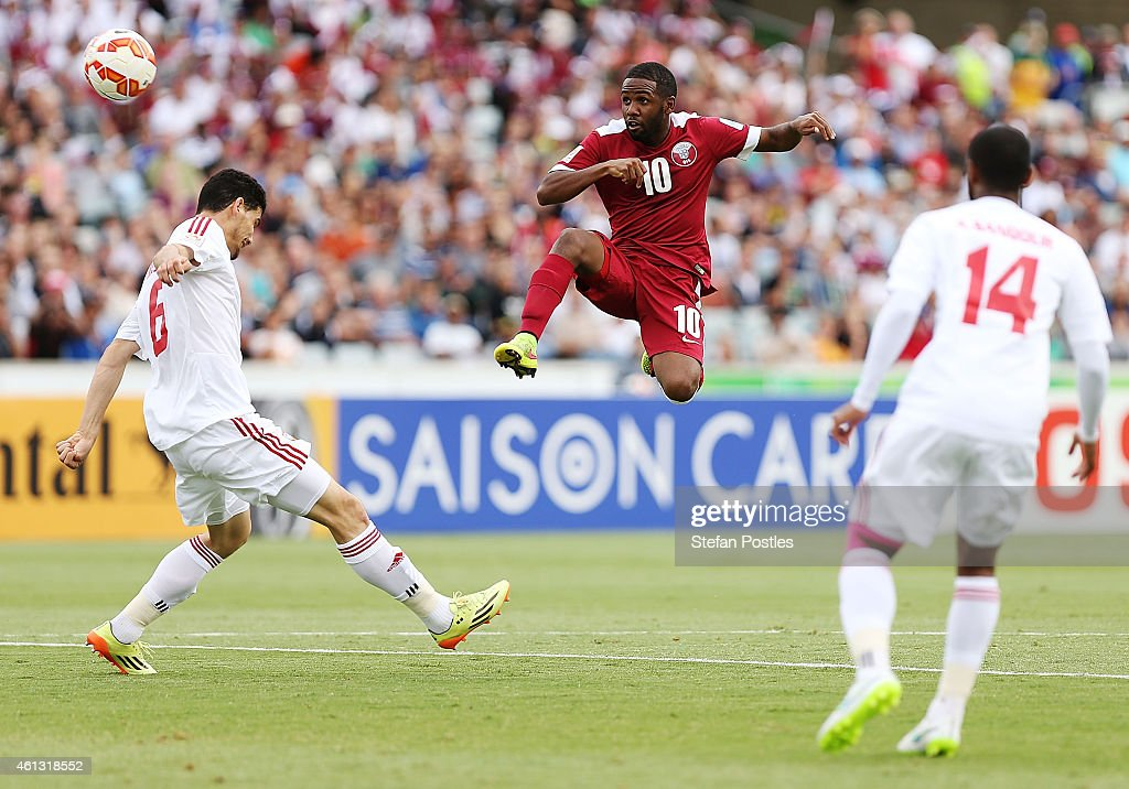 Khalfan Ibrahim of Qatar scores a goal during the 2015 Asian Cup match between the United Arab Emirates and Qatar at Canberra Stadium on January 11, 2015 in Canberra, Australia.