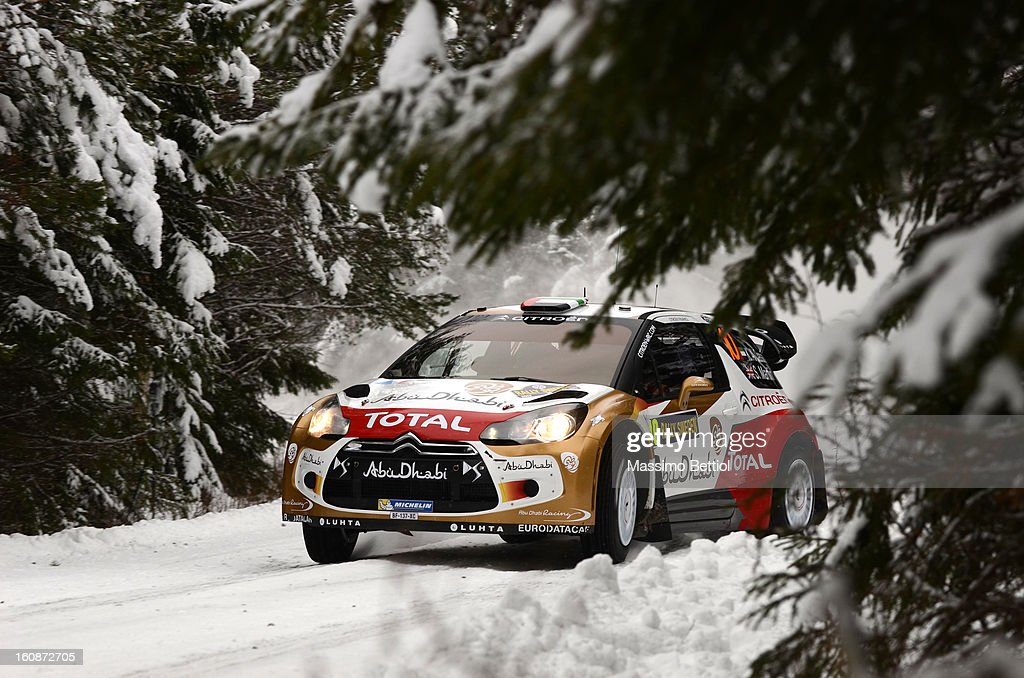Khalid Al Qassimi of Arabian Emirates and Scott Martin of Great Britain compete in their Abu Dhabi Citroen Total WRT Citroen DS3 WRC during the Shakedown of the WRC Sweden on February 07, 2013 in Karlstad, Sweden.