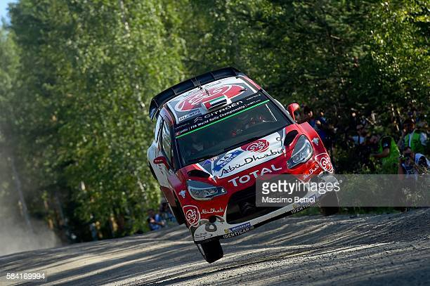 Khalid Al Qassimi of United Arabian Emirates and Chris Patterson of Great Britain compete in their Abu Dhabi Total WRT Citroen DS3 WRC during the...