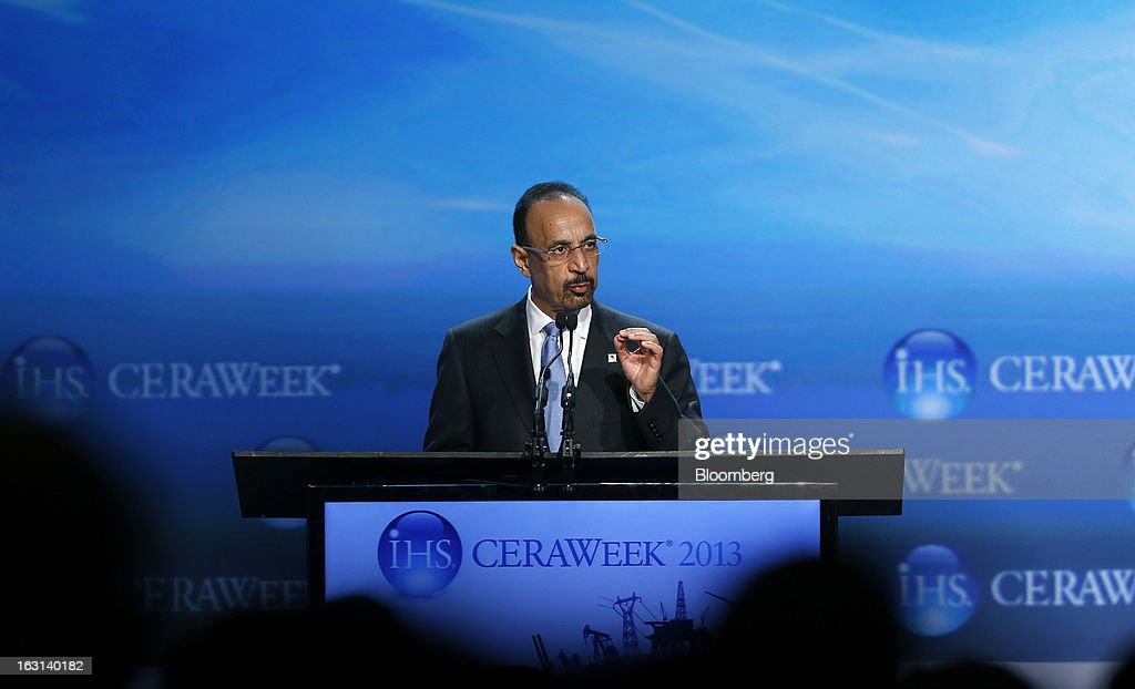 "Khalid Al-Falih, chief executive officer of Saudi Arabian Oil Co. (Saudi Aramco), delivers the opening keynote address during the 2013 CERAWeek conference in Houston, Texas, U.S., on Tuesday, March 5, 2013. The growth in new oil production has overturned ""doomsday scenarios"" about the decline of the petroleum industry, said Al-Falih. Photographer: Aaron M. Sprecher/Bloomberg via Getty Images"