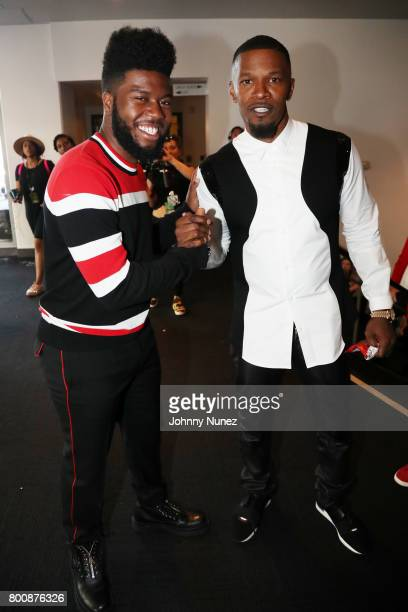 Khalid and Jamie Foxx backstage at the 2017 BET Awards at Microsoft Theater on June 25 2017 in Los Angeles California