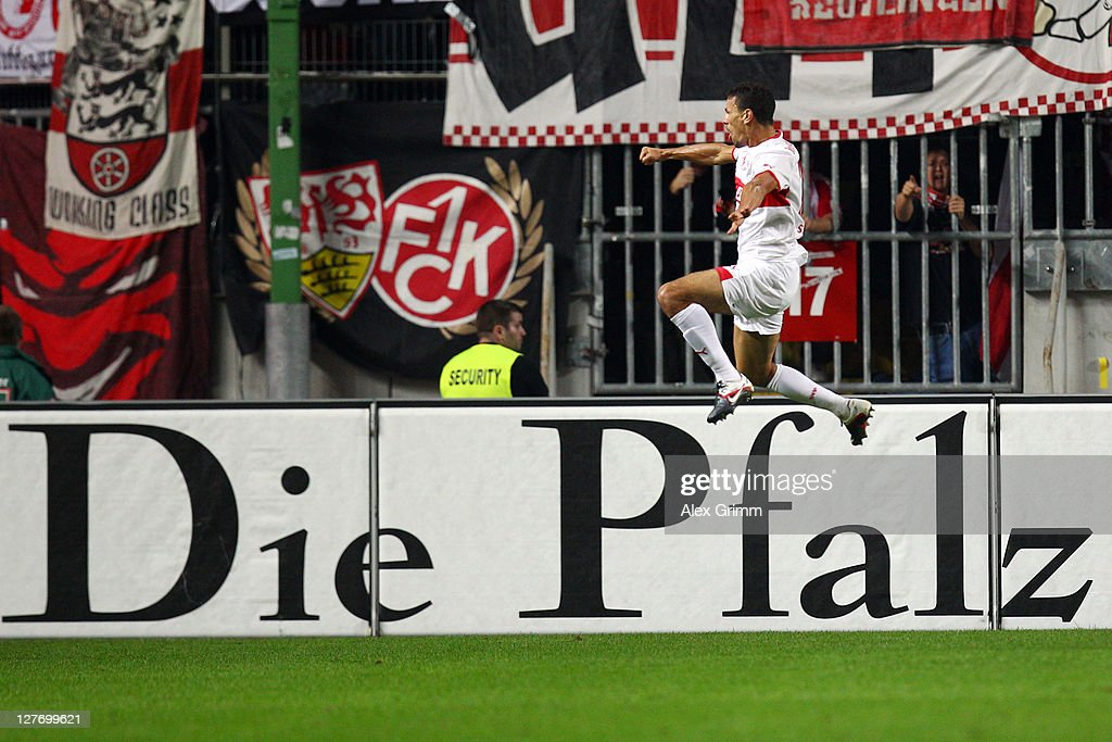 Khalid Boulahrouz of Stuttgart celebrates his team's second goal during the Bundesliga match between between 1. FC Kaiserslautern and VfB Stuttgart at Fritz-Walter Stadium on September 30, 2011 in Kaiserslautern, Germany.