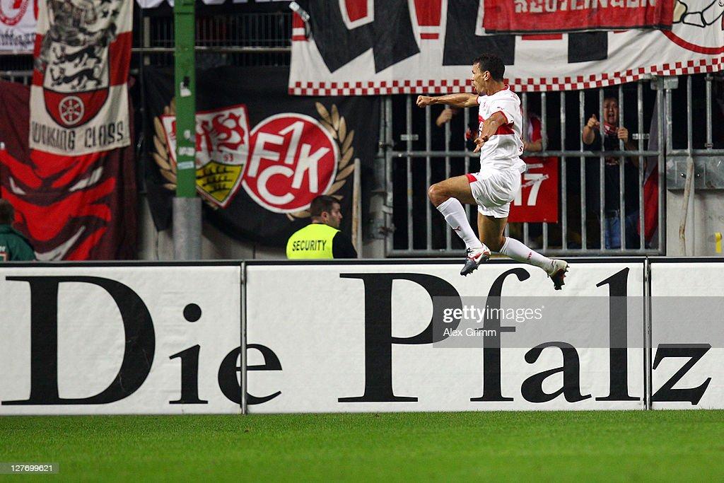 Khalid Boulahrouz of Stuttgart celebrates his team's second goal during the Bundesliga match between between 1. FC Kaiserslautern and VfB Stuttgart at Fritz-Walter Stadium on September 30, 2011 in Kaiserslautern, Germany.