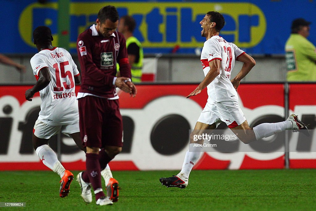 <a gi-track='captionPersonalityLinkClicked' href=/galleries/search?phrase=Khalid+Boulahrouz&family=editorial&specificpeople=538143 ng-click='$event.stopPropagation()'>Khalid Boulahrouz</a> (R) of Stuttgart celebrates his team's second goal during the Bundesliga match between between 1. FC Kaiserslautern and VfB Stuttgart at Fritz-Walter Stadium on September 30, 2011 in Kaiserslautern, Germany.