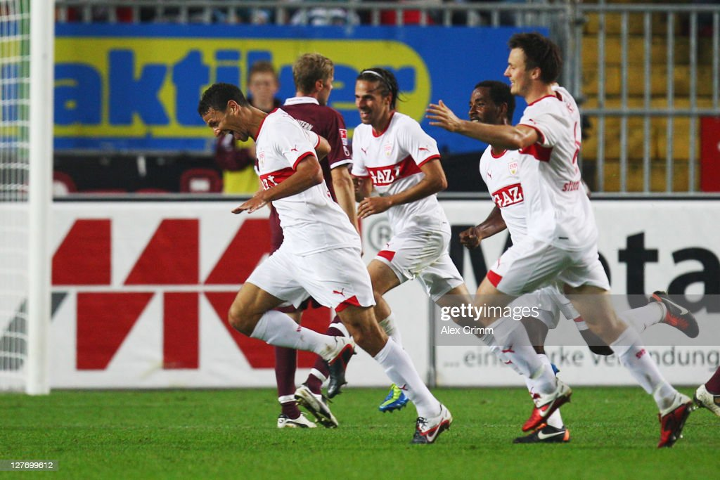 <a gi-track='captionPersonalityLinkClicked' href=/galleries/search?phrase=Khalid+Boulahrouz&family=editorial&specificpeople=538143 ng-click='$event.stopPropagation()'>Khalid Boulahrouz</a> (L) of Stuttgart celebrates his team's second goal with team mates during the Bundesliga match between between 1. FC Kaiserslautern and VfB Stuttgart at Fritz-Walter Stadium on September 30, 2011 in Kaiserslautern, Germany.