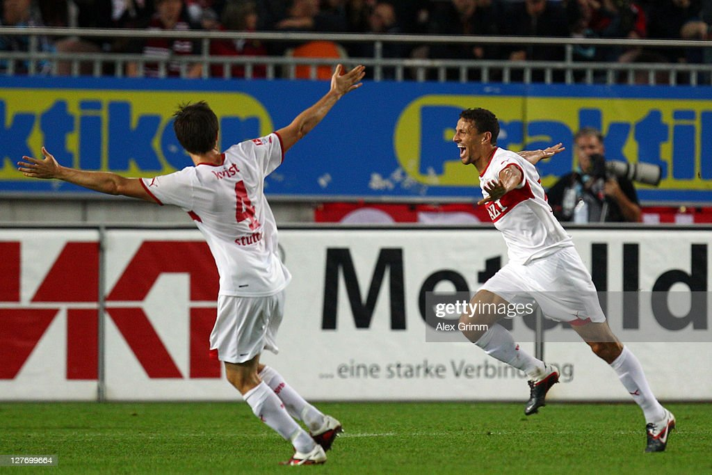 <a gi-track='captionPersonalityLinkClicked' href=/galleries/search?phrase=Khalid+Boulahrouz&family=editorial&specificpeople=538143 ng-click='$event.stopPropagation()'>Khalid Boulahrouz</a> (R) of Stuttgart scores his team's second goal with team mate <a gi-track='captionPersonalityLinkClicked' href=/galleries/search?phrase=William+Kvist&family=editorial&specificpeople=2465270 ng-click='$event.stopPropagation()'>William Kvist</a> during the Bundesliga match between between 1. FC Kaiserslautern and VfB Stuttgart at Fritz-Walter Stadium on September 30, 2011 in Kaiserslautern, Germany.