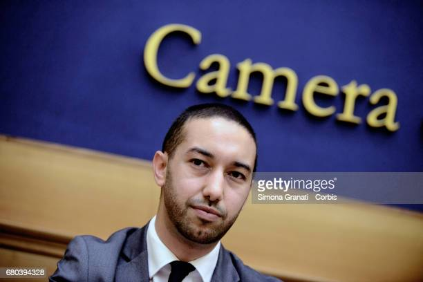 Khalid Chaouki Deputy of the Italian Democratic Party attends a press conference on citizenship at the Chamber of Deputies on May 8 2017 in Rome...
