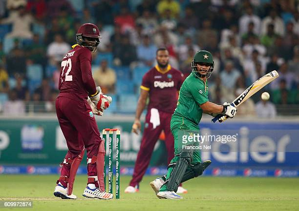 Khalid Latif of Pakistan bats during the first T20 International match between Pakistan and West Indies at Dubai International Cricket Ground on...