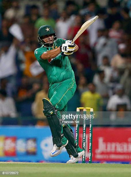 Khalid Latif of Pakistan bats during the third T20 International match between Pakistan and West Indies at Zayed Cricket Stadium on September 27 2016...