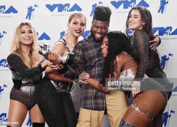 Khalid winner of Best New Artist and Ally Brooke Dinah Jane Normani Kordei and Lauren Jauregui of Fifth Harmony winners of Best Pop for 'Down' pose...