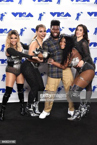 Khalid winner of Best New Artist and Ally Brooke Dinah Jane Normani Kordei and Lauren Jauregui of Fifth Harmony winners of Best Pop for 'Down' pose...