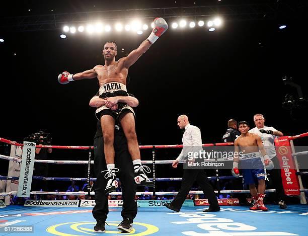 BIRMINGHAM ENGLAND OCTOBER Khalid Yafai of England celebrates stopping Johnson Tellez of Nicaragua in the 3rd round during their Super Bantamweight...
