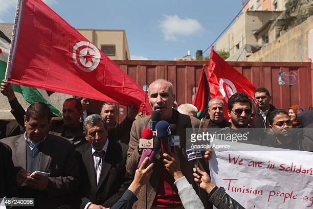 Khalil Abu Shemale head of the Al Dameer Association for Human Rights in Gaza city delivers a speech when Palestinian NonGovernmental Organizations...