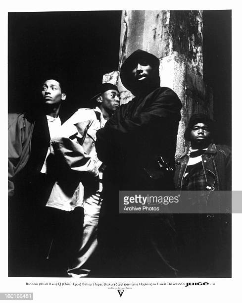 Khalil Kain Omar Epps Tupac Shakur and Jermaine Hopkins hanging out together in a scene from the film 'Juice' 1992
