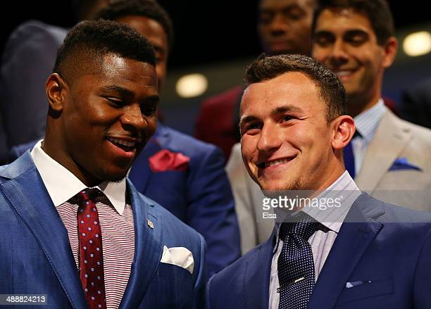 Khalil Mack of the Buffalo Bulls and Johnny Manziel of the Texas AM Aggies are introduced during the first round of the 2014 NFL Draft at Radio City...