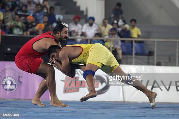 Khalsa Warriors compete against Yo Yo Tigers during the 2014 World Kabaddi league tournament at International Hockey Stadium on 2nd October 2014 in...