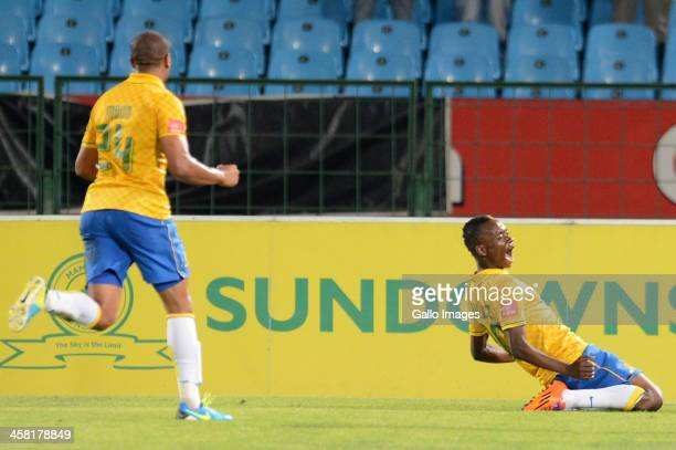 Khama Billiat of Mamelodi Sundowns celebrates during the Absa Premiership match between Mamelodi Sundowns and Maritzburg United at Loftus Stadium on...