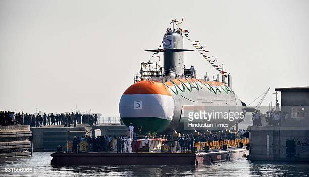 Khanderi the second of Indian Navy Scorpeneclass stealth submarine was launched by Union Minister of State for Defence Subhash Bhamre at Mazagon Dock...