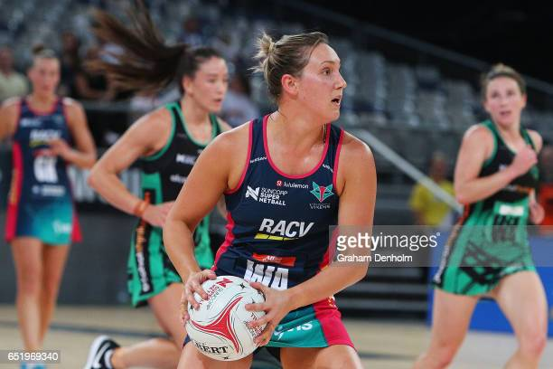 Khao Watts of the Vixens passes during the round four Super Netball match between the Vixens and the Fever at Hisense Arena on March 11 2017 in...