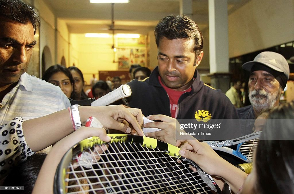 Khar Gymkhana facilitates Leander Paes after winning US open in doubles category at Khar on September 19, 2013 in Mumbai, India. Indian tennis ace Leander Paes become oldest player to clinch a Grand Slam in Open era, when he won the 2013 US Open men's doubles with Radek Stepanek defeating Alexander Peya and Bruno Soares 6-1, 6-3. This is Paes' 3rd US Open men's doubles title and 14th Grand Slam title.